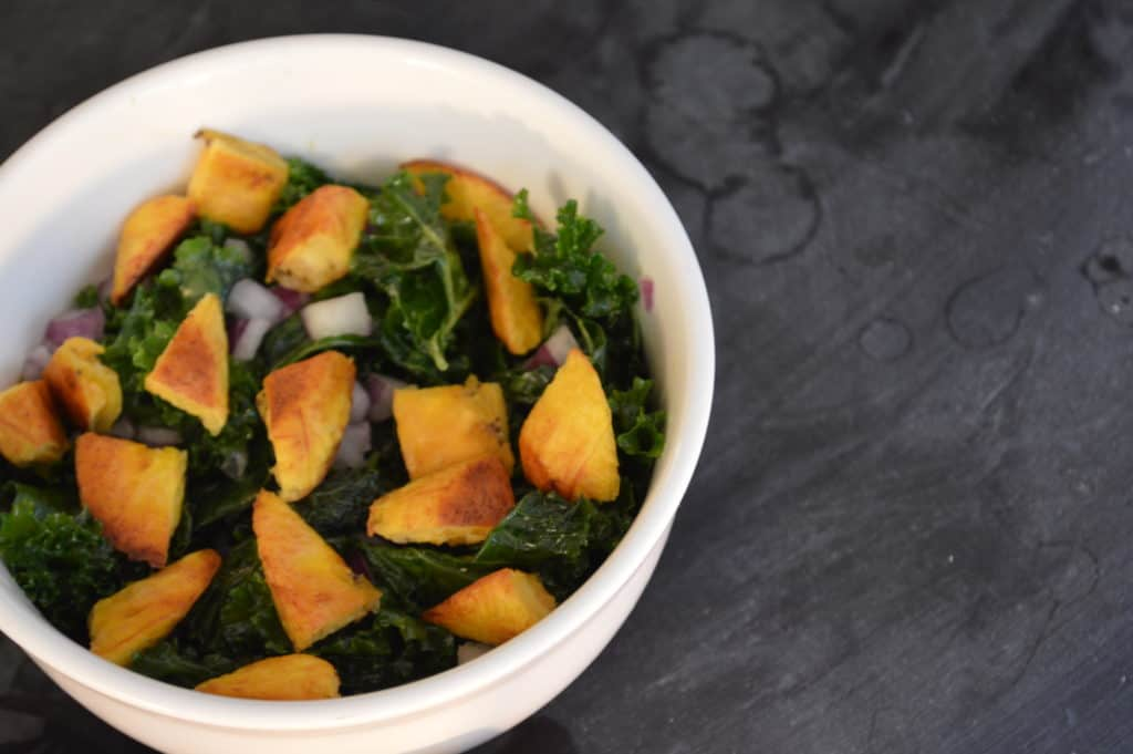 Kale & Sweet Plantain Salad with Lemon Turmeric Vinaigrette